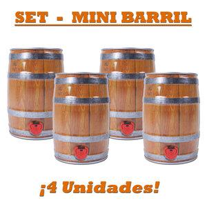 Set de 4x Mini-Barril 5ltr apariencia madera con tapón y grifo